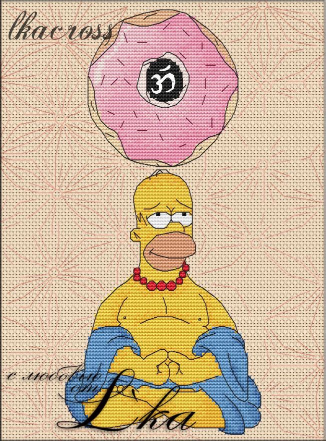 """""""Гомер"""". Схема/набор для вышивания крестиком."""