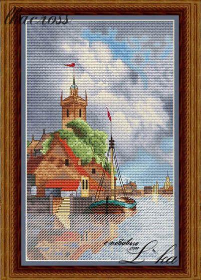"""""""Голландская гавань"""". Схема/набор для вышивания крестиком."""