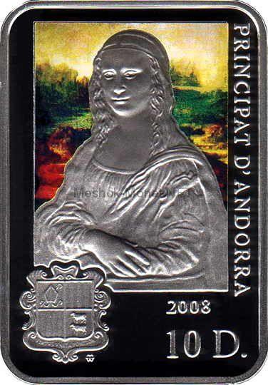 10 динар Андорры 2008 год PROOF Леонардо да Винчи из серии «Мировые художники»