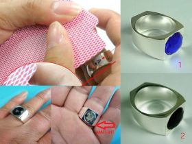 """Зеркальное кольцо с магнитом (два варианта: с синим или чёрным """"камнем"""")"""