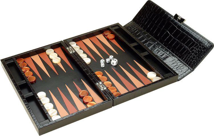 Нарды дорожные черные, доска - крокодиловая кожа, фишки - перламутр, 38,5х25х6,5 см