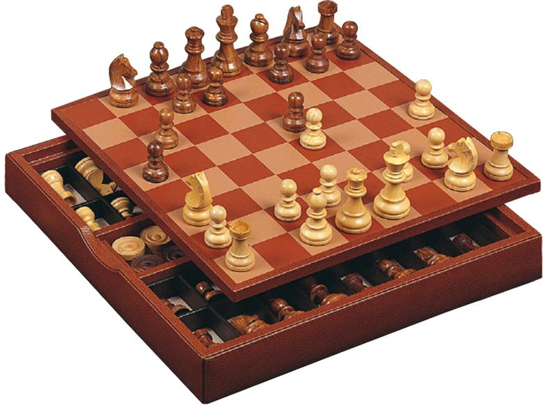 Шахматы в коричневом боксе, доска - дерево+кожа, фигуры - дерево, 400 х 400 х 45 мм
