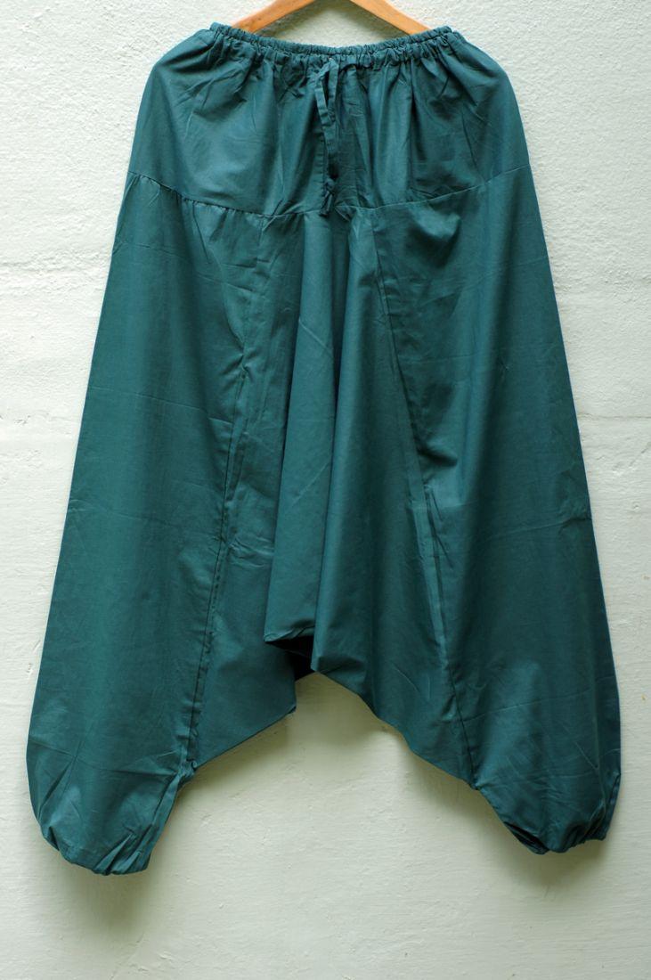 Тёмно-зелёные индийские штаны с узким поясом (Москва)
