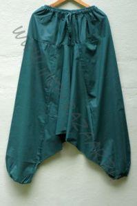 Темно зеленые индийские штаны с узким поясом