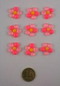 "Кабошон ""Цветок"", пластик, 18 мм, цвет - розовый (1уп=50шт)"