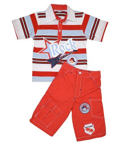 Комплект из полосатой футболки и хлопковых капри