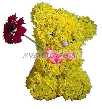Мишка из цветов (20-25 см.)