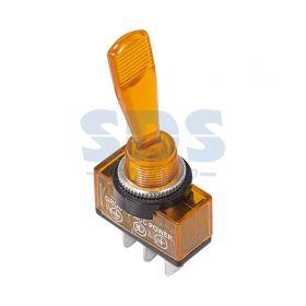 Однополюсный тумблер 12V 20А (3c) ON-OFF с желтой подсветкой LED (ASW-13D)