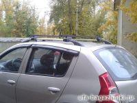 Багажник на крышу - стальные прямоугольные дуги на рейлинги Renault Sandero / Renault Sandero Stepway, Евродеталь