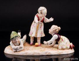 Жмурки, играющие дети, E & A Muller, Германия, нач. 20 в