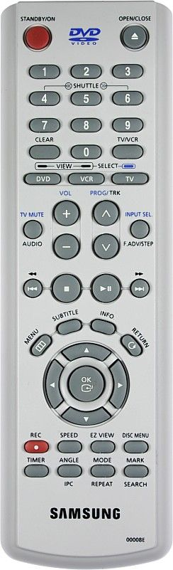 Пульт для для Samsung 00008J (AK59-00008J), 00008D  (DVD+VCR) (DVD-V5500, DVD-V6500, DVD-V7050K, DVD-V7550K, SV-DVD240, SV-DVD340P, SV-DVD440P, SV-DVD540, SV-DVD541P, SV-DVD545, SV-DVD546P, SV-DVD641P, SV-DVD645P)