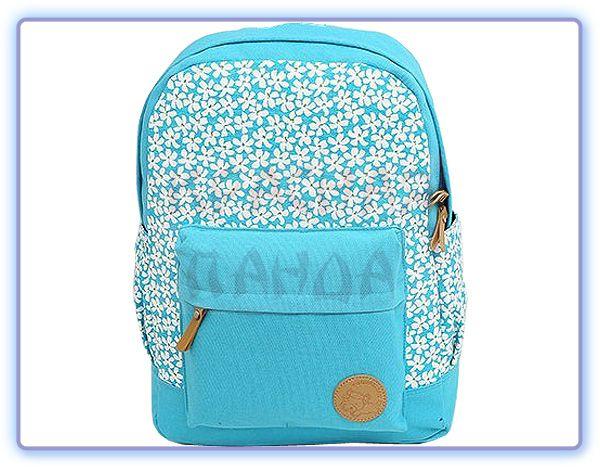 Городской рюкзак с цветочками голубой