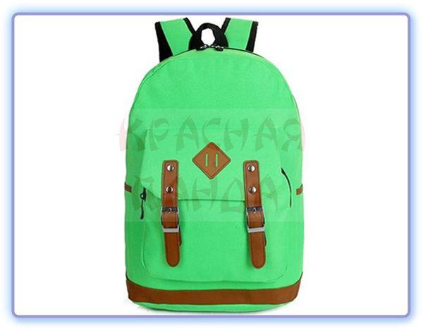 Городской рюкзак с кожаным пятачком зеленый