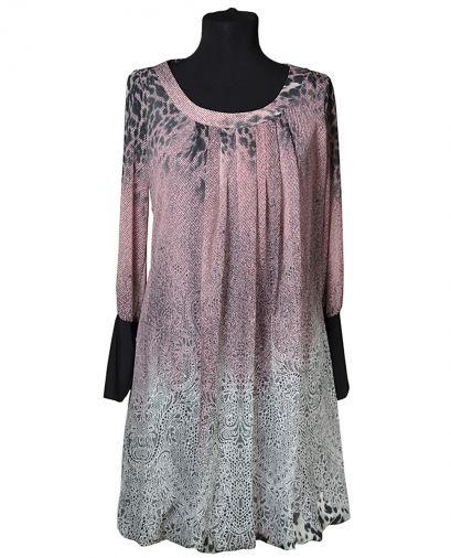 Платье-баллон из купонной шифоновой ткани с длинным рукавом