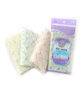 Корейская мочалка для душа, средней жесткости (белая с голубыми сердечками) Shower Towel Heart