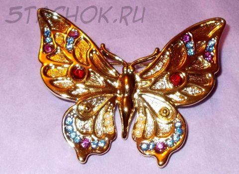 """Брошь """"Прекрасная бабочка"""" под золото/стразы"""