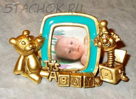 """Брошь """"Новорожденный"""" под античное золото/эмаль"""
