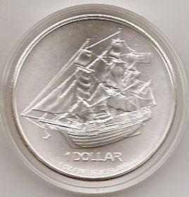 Парусник 1 доллар Острова Кука 2010 серебро 1 унция