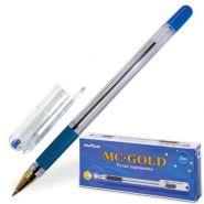 "Ручка масл  ""МС GOLD"",синяя. 0,5мм с резин.упором, ВМС-02"