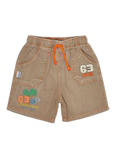 Льняные шорты с карманами и аппликацией