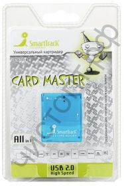 Картридер Smartbuy 713 Blue  универсал. (SBR-713-B) SD,SDHC,RS MMC,Micro SD,M2,MS PRO Duo,Mini sd