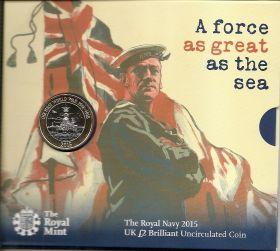 Королевский Морской Флот. Первая Мировая Война. 2 фунта Великобритания 2015 на заказ
