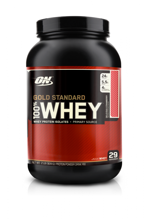 OPTIMUM NUTRITION 100% Whey Protein Gold standard 2 lb (907гр.)  - клубника скл2 1-2 дня