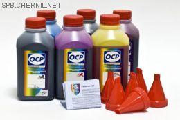 Чернила OCP для принтера и МФУ Canon MG6140, MP980 (BKP44, BK123, BK124, C154, M144, Y144), картриджи PGI-425, PGI-520, CLI-426, CLI-521, комплект 500 гр. x 6