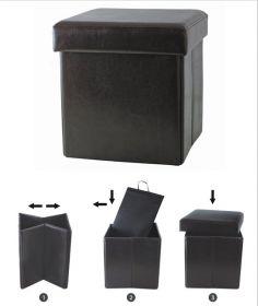 Пуф складной с ящиком внутри 38 х 38 х 38 см, кожзам