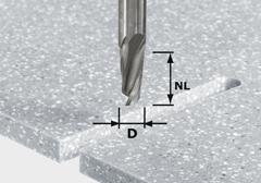 Спиральная пазовая фреза HW, хвостовик 12 мм HW Spi D12/42 RD ss S12