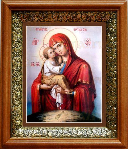 Почаевская икона БМ (19х22), светлый киот