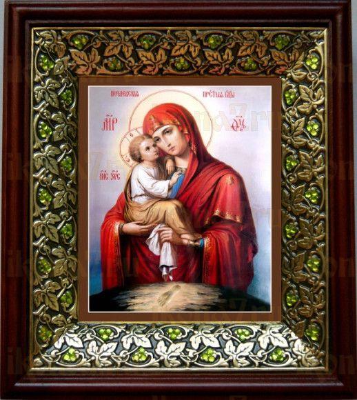 Почаевская икона БМ (21х24), киот со стразами