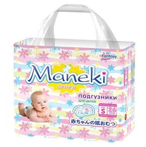 Maneki Подгузники детские одноразовые Fantasy МИНИ, размер S, 4-8 кг, 26 шт./упак