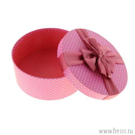 """Коробка подарочная """"Горошек"""" розовый"""