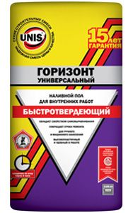 ЮНИС ГОРИЗОНТ Универсальный Быстротвердеющий наливной пол (5 - 100 мм) (20 кг)