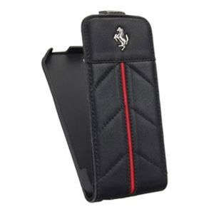 "Чехол-книжка Apple iPhone 5/5S (black-red, ""Ferrari"") Кожзам"