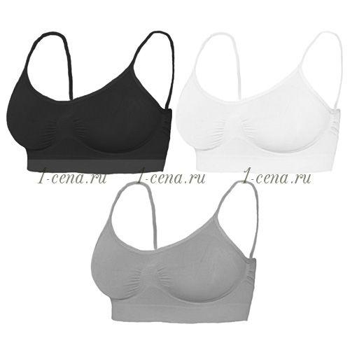 Комплект бесшовных бюстгальтеров «SPORT» (3 шт.) чёрный/белый/серый