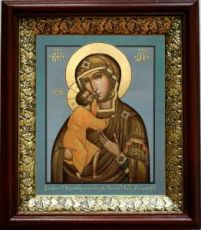 Феодоровская икона БМ (19х22), темный киот