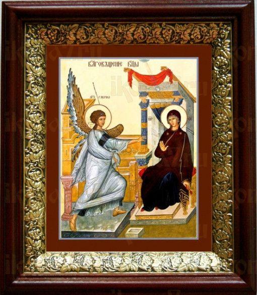 Благовещение Пресвятой Богородицы (19х22), темный киот