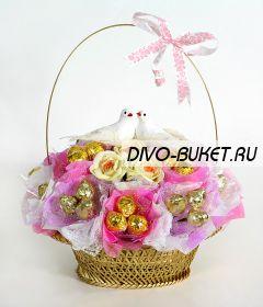 """Букет из конфет №551 """"Свадебная корзина"""""""