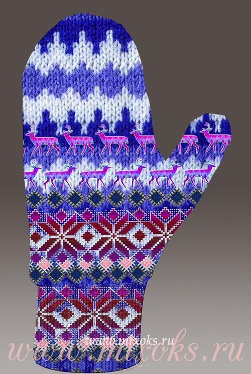 Варежки фиолетовые Орнаменты
