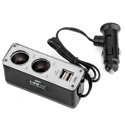 Разветвитель авто прикуривателя на 2 гнезда, 12/24В, 2 гнездо USB Орбита WF-0023