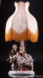 Пара с козлом, лампа, Дрезден, Германия, 1960 гг., артикул 01899