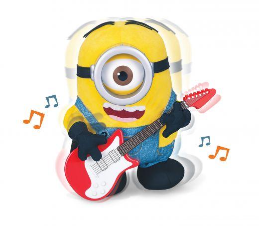 Миньон Стюарт с гитарой. Плюшевая анимационная игрушка