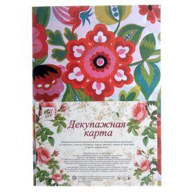 """Декупажная карта плотность 16 гр """"Нарисованные цветы"""""""