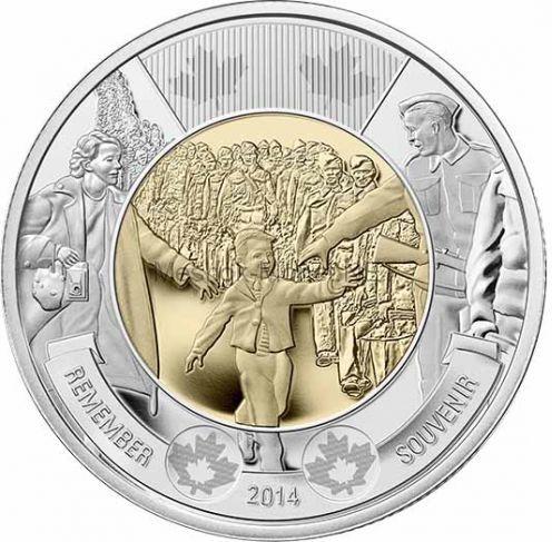 Канада 2 доллара 2014 Подожди меня Папа (Wait for Me, Daddy)