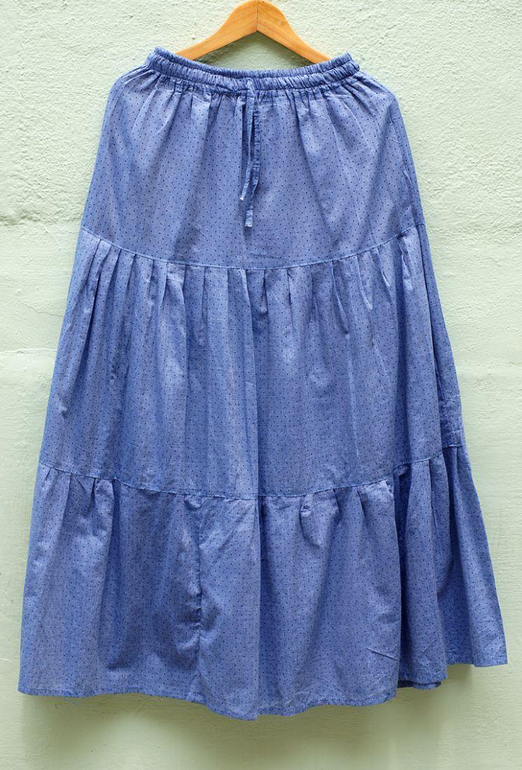 Длинная синяя хлопковая юбка