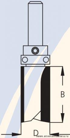 Фреза концевая обгонная для работы по шаблону D25,4 B45 d12 W.P.W. PF72542