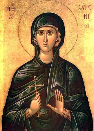 Евгения Римская (рукописная икона)