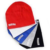 Шапки для подростков с принтом RUSSIA, цвета в ассортименте.
